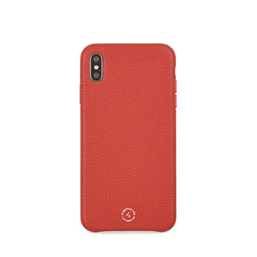 Apple iPhone Xs MAX / 10s MAX Handcrafted Premium Red Pebble Grain Genuine Leather Case - Gift Box Packaging