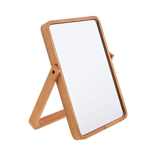 Hosoncovy Wood Frame Stand Makeup Mirror Cosmetic Mirror Table Mirror with Wood -