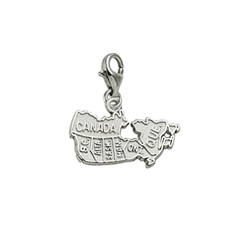 Canada Map Charm With Lobster Claw Clasp Charms Bracelets Necklaces