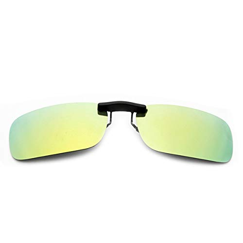 (Clip-on Sunglasses Men's Titanium Flexible Polarized Lenses Glasses Laura Fairy(yellow green, 55))