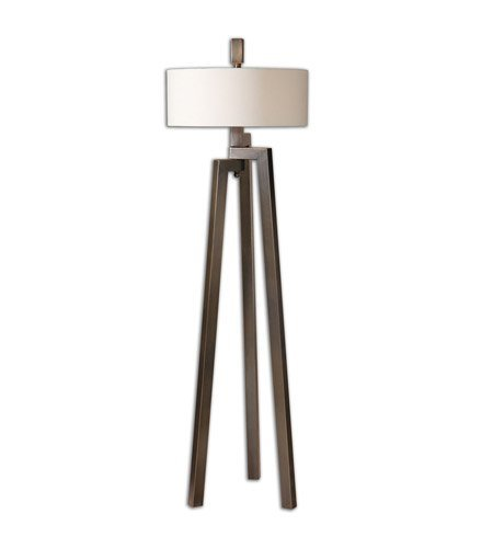 (Floor Lamps 2 Light With Hand Forged Metal Finished In An Antiqued Plated Brushed Bronze With Gold Undertones Finish Metal Fabric Material 60 inch 120 Watts)