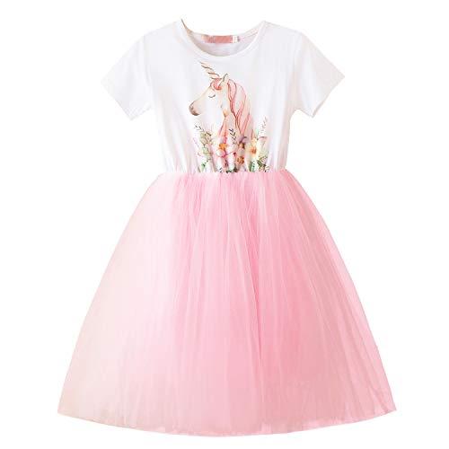 Toddler Baby Girls Tutu Dress Short Sleeve Unicorn Cotton Dresses Princess Party Summer Lace Skirt