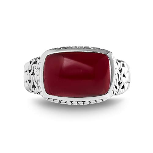 Willowbird Women's Simulated Red Jasper Rectangle Center Beaded Ring In Rhodium Plated Sterling Silver (Size 6) - Sterling Red Jasper