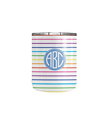 (Personalized Rainbow Stripes Pattern Coffee Tumbler - Stainless Steel Travel Mug Tumblers Double Walled Vacuum Insulated with Lid Cup (10oz Tumbler))