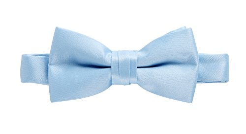 Sportoli8482; Kids and Baby Adjustable Solid Color Banded Satin Pre-tied Tux Bow Tie - Light (Baby Blue Tux)