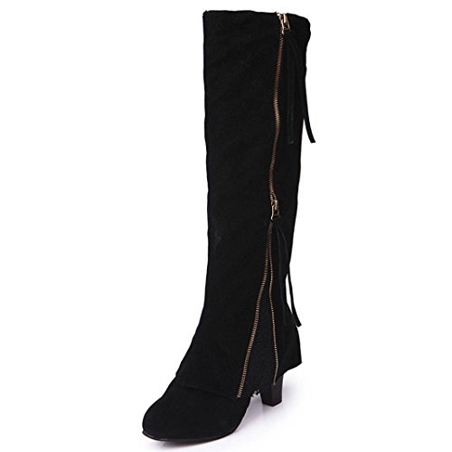 Shoes 001 (Women Boots, ღ Ninasill ღ Exclusive Wedge Buckle Biker Ankle Trim high-heeled Zip Lace Ankle Boot Shoes (8, Black))