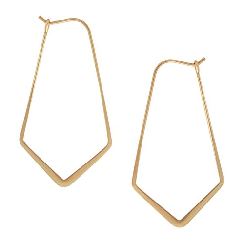 Geometric Chevron Threader Hoop Earrings - Lightweight Cutout Thin Wire Drop Dangles, 18K Yellow - 1.5 inch, Gold-Electroplated, Hypoallergenic, by Humble Chic NY