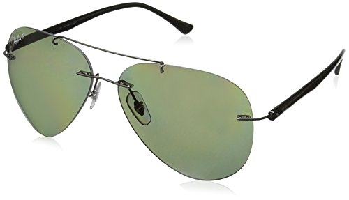 Ray-Ban RB8058 Aviator Titanium Sunglasses, Gunmetal/Polarized Green, 59 mm