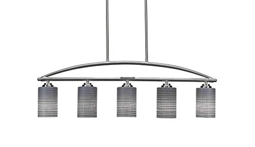 Toltec Lighting 2435-BN-4062 Marquise - Five Light Billiard/Island, Brushed Nickel Finish with Gray Matrix Glass