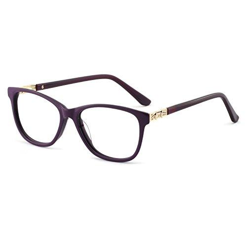 Glasses Prescription Designer Gold - OCCI CHIARI Stylish Women's Eyewear Clear Lens Frame Glasses Samll Circle Non Prescription Eyeglasses (D-Purple+Gold)