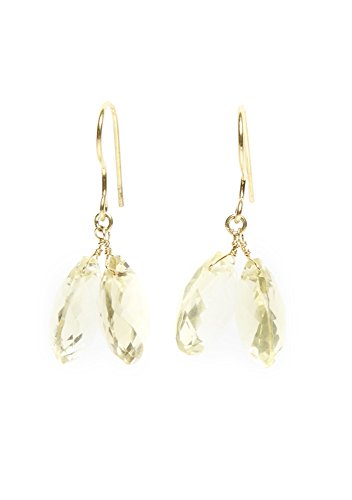 Lemon and Green Gold Quartz Earrings, Ocean (Gold Lemon Quartz Ring)