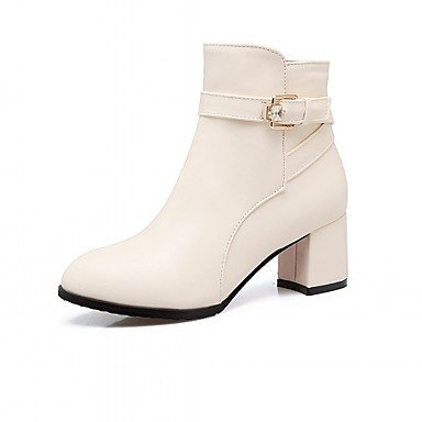 Heel Boots Toe Ankle Casual UK8 Office Buckle Round CN43 5 EU42 For Booties Women'S Boots Chunky US10 Winter Boots 5 Leatherette Career Shoes RTRY amp;Amp; Spring Fashion zSO6nT