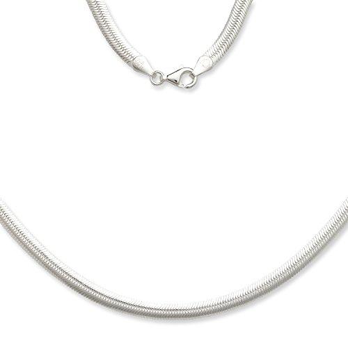 JewelryWeb Sterling Silver Italian 5mm Magic Flex Oval Herringbone Chain Necklace (16-30