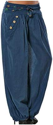 Feytuo Pantalones de Yoga Mujer,Pantalones de Yoga Algodón Suave Piernas Pantalones Anchos Sólido Color Elástico Pretina Pantalones Bombachos de Fitness Bailan Deportivo para Mujeres,Negro: Amazon.es: Deportes y aire libre