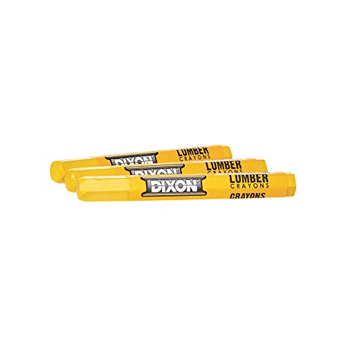 "Dixon Industrial Lumber Marking Crayons, 4.5"" x 1/2"" Hex, Yellow, 12-Pack (49600)"