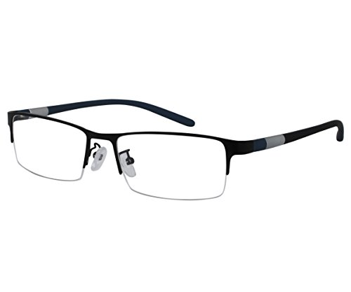EyeBuyExpress Bifocal Reading Glasses Mens Womens Half Rim Stainless Steel Black