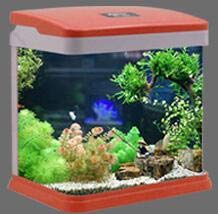 2019 new Living room desktop ecological goldfish mini aquarium Lazy artificial fish bowl Mini turtle tank 18.5  19.5  13.5cm Q4, S