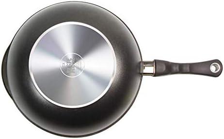 AMT Gastroguss – AMZN-1032S-Z20B – Wok en fonte d'aluminium – Avec manche amovible – Diamètre : 32cm – Hauteur: 10cm