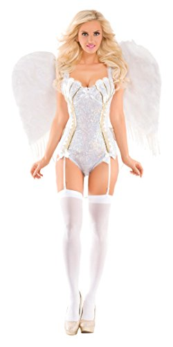 White Angel Costume (Party King Women's Sweet Angel Deluxe Costume, White, Medium)