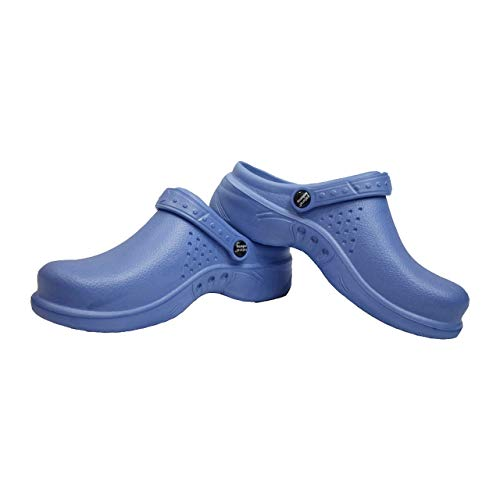 Natural Uniforms Ultralite Women's Clogs with Strap, Medical Work Mule (Size 7, Ceil Blue)