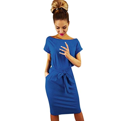 SHOBDW Mujeres de Manga Corta sólido Arco Casual Bolsillo Elegante Verano Ladies Club Fiesta de Noche Mini Vestido Azul