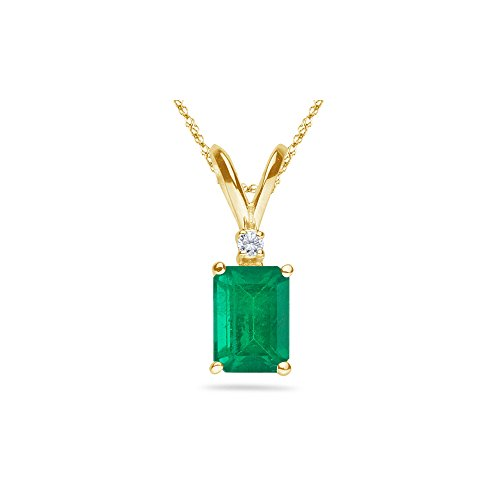 - 0.02 Cts Diamond & 1.10-1.93 Cts of 8x6 mm AA Emerald Cut Natural Emerald Pendant in 14K Yellow Gold