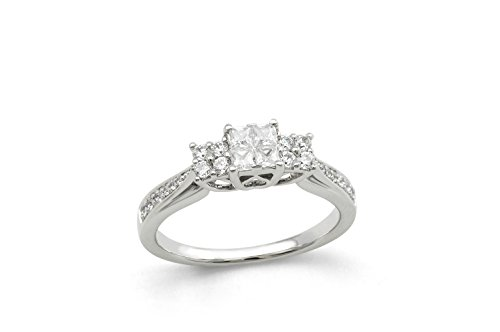 (Boston Bay Diamonds 14K White Gold 1/2 Cttw. Princess-Cut & Round Diamond Engagement Ring)