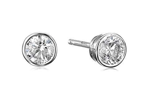 14k White Gold Bezel Set Diamond with Friction Post and Back Stud Earrings (1/4cttw, K-L Color, I2-I3 Clarity) ()