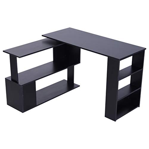 HOMCOM Modern L Shaped Rotating Computer Desk with Bookshelves - Black