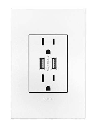 Legrand Adorne ARTRUSB153W4 Dual USB, Plus-size Combo Outlet, White by Legrand (Image #1)