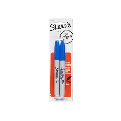Sharpie Permanent Markers, Fine Point, Blue, 2-Pack (1765449) ()