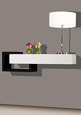 Console Murale Avec Tiroir.Tendancemeubles Console Design Murale Blanc Noir 1 Tiroir L