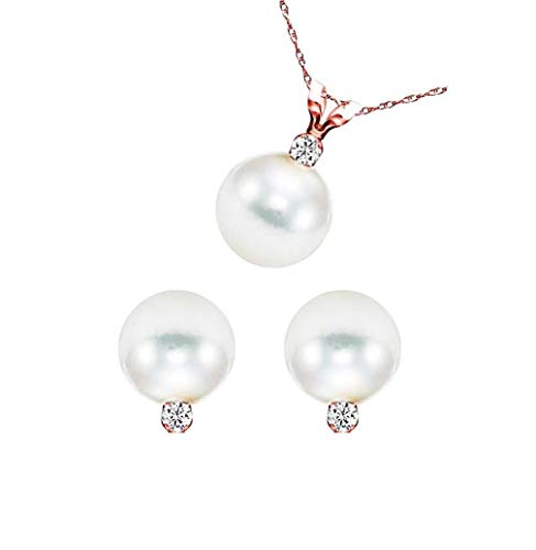 Rose Gold Over Silver Cultured Freshwater Pearls and CZ Earrings Pendant, Gift Boxed Set