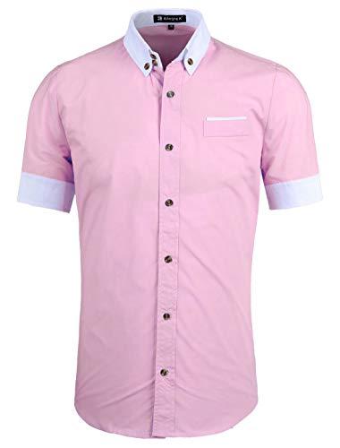 Allegra K Men Short Sleeve Button Down Slim Fit Shirts Pink S US 36