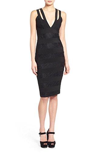 Missguided Lace Bandage Body Con Dress  Size 2 Us   6 Uk   Black