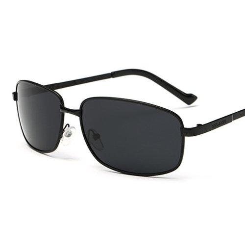 LXKMTYJ Hommes ont conduit conduite polarisée Lunettes Miroir métal Pêche à la mode campagne individuelle Chaoren Lunettes lunettes d'Argent, Noir est grisée Chip