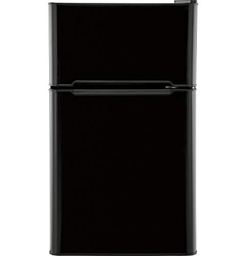 Haier Compact Refrigerator - GE HC32TW10SB 3.2 Cu. Ft. Compact Refrigerator with Full-Width Glass Shelves, a True Separate Freezer, Dispense-a-Can Storage, and Interior Lighting, in Black