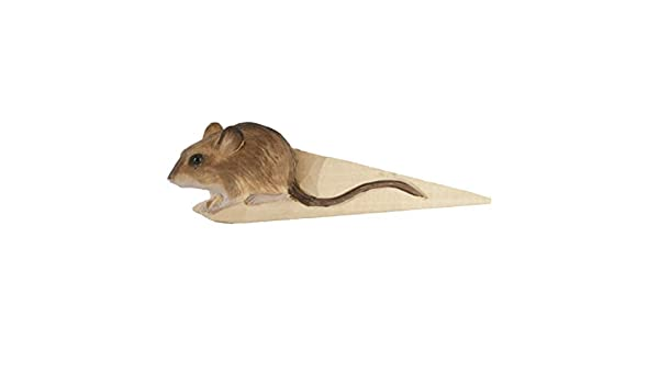 Solid Wood One-of-a-Kind Lifelike Detailing Gift Box Silicone-Coated Non-Slip Bottom Designed in Sweden Wildlife Garden Hand-Carved Wood Mouse Doorstop 6-3//4-inches Non-Toxic Paint