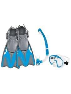 Body Glove Women's EXO Mask and Snorkel Fins Combo Set, Aqua, Medium Large/X-Large ()