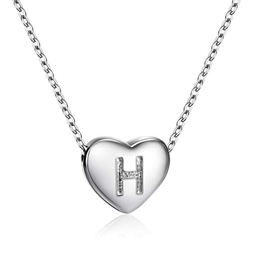 Silver Sparkle Hearts - Dainty Heart Initial Necklace S925 Sterling Silver Letters H Alphabet Pendant Necklace Birthday Gift for Granddaughter