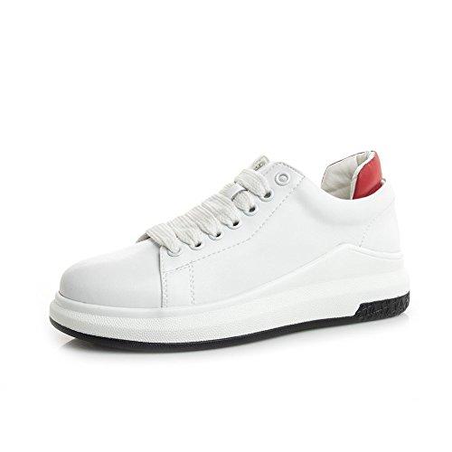 Damenschuhe Neue Herbst Winter Damen Schuhe, Leder Mischfarben Kleine Weiße Schuhe, Flache Lace-Up Athletische Freizeitschuhe, Zum Gehen, Einkaufen, Reisen,A,35