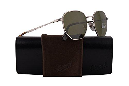 Persol PO2446S Sunglasses Silver w/Green Lens 52mm 5184E PO 2446-S PO2446-S PO 2446S (Sunglasses Silver Persol)