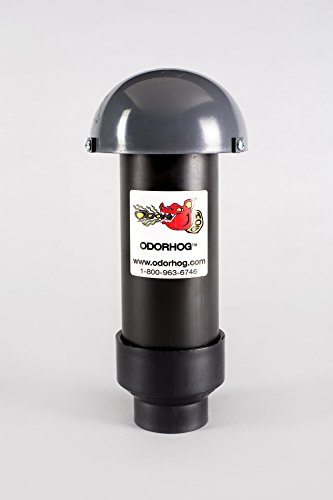 Odorhog Vent Pipe Filter Black ABS (2.0) Inch W/ Mushroom Cap Air Cleaner Stack