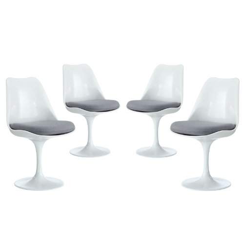 Modway Lippa Modern Dining Four Side Chair Set With Fabric Cushions in Gray by Modway (Image #1)