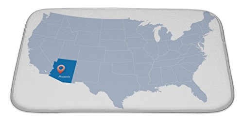 Gear New Memory Foam Bath Rug, Map Of USA With The Indication Of State Of Arizona And Phoenix, 34x21, - Carpet City Kansas Tiles