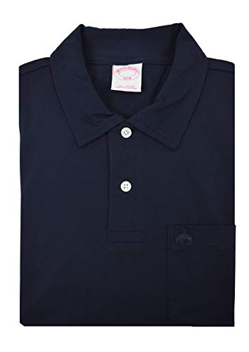 (Brooks Brothers Mens Original Fit Soft Knit Cotton Two Button Pocket Polo Shirt Navy Blue (Medium))