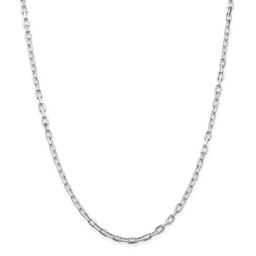 925 Sterling Silver 3.5mm Diamond-Cut Open Link Cable Chain Necklace 20