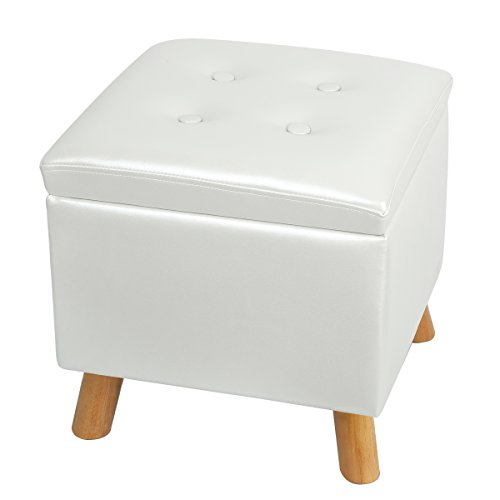 (Eshow Ottoman with Storage Ottoman and Foot Stools Cube Leather Pouf Shoe Bench Storage Square Storage Stool Decorative Seating)