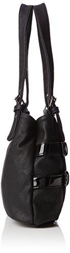 Rieker H1035, Bolsa de Asa Superior para Mujer, Negro (Schwarz/Schwarz-Grau/00), 36x22x10 cm (B x H x T)