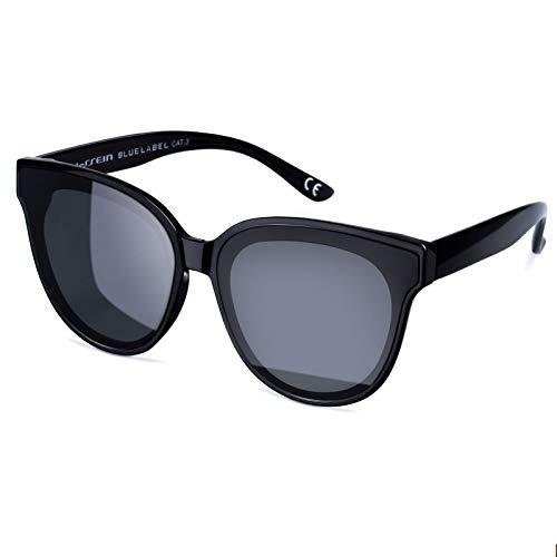 Vintage Cat Eye Women Eyewear Oversized Fashion Sunglasses (Black)
